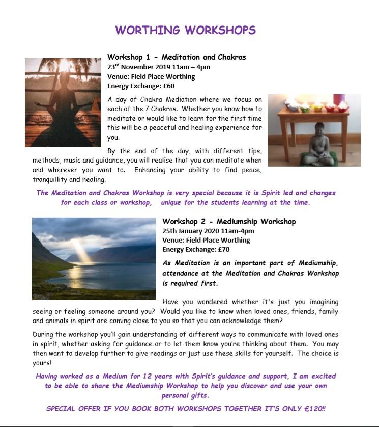 WORTHING WORKSHOPS Nov 2019 & Jan 2020 Leaflet