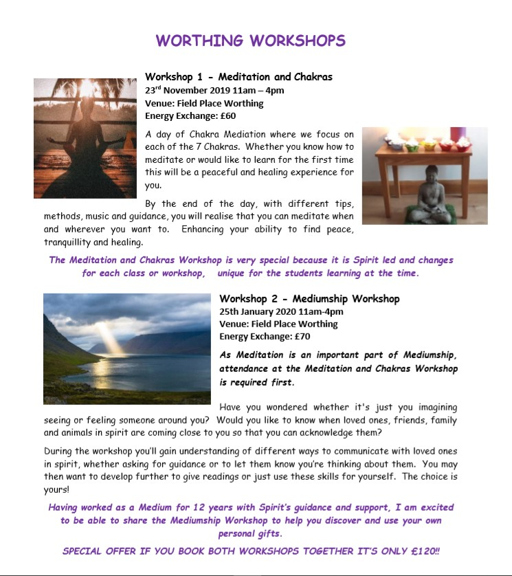 WORTHING WORKSHOPS Nov 2019 & Jan 2020 Leaflet